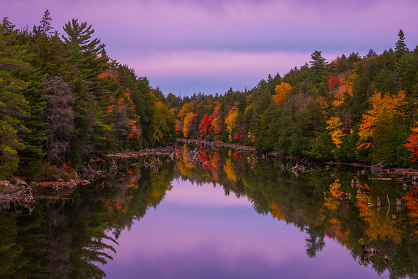 Twilight Sets In Over The River - Algonquin Provincial Park, Nipissing, South Part, Ontario, Canada