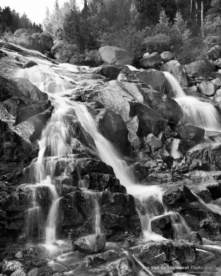 Alluvial fan in black and white