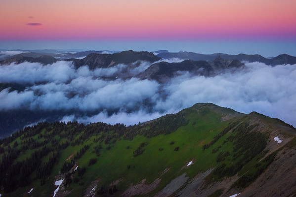 Layers Of Valleys And Mountains In Twilight Colors - Mt Fremont Fire Lookout, Mount Rainer National Park, WA