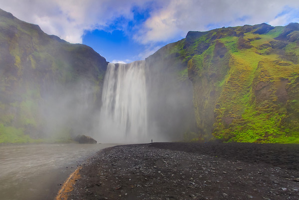 Standing At The Bottom For A Shower - Skogafoss Waterfalls, Iceland