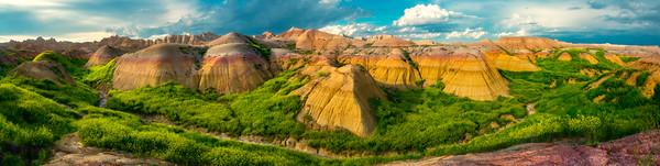 Pano Of The Badlands And Sweet Clover - Badlands National Park, South Dakota