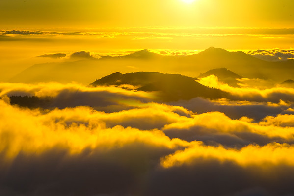Fluffy Clouds And Layers Of Fog - Mt Fremont Fire Lookout, Mount Rainer National Park, WA