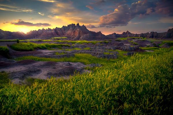 Sunset Glow Diffused Into The Badlands - Badlands National Park, South Dakota