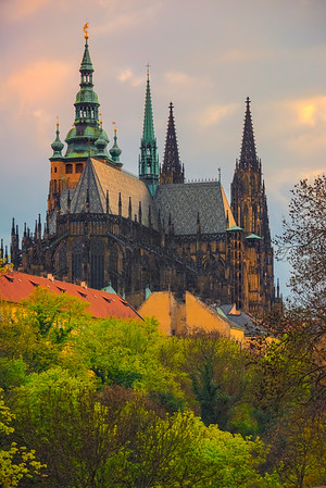 The Old Prague Castle Standing At Sunset