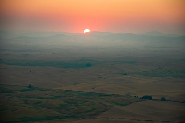 Sunrise Harvest Smoke From Steptoe - Steptoe Butte State Park, Palouse, Eastern Washington