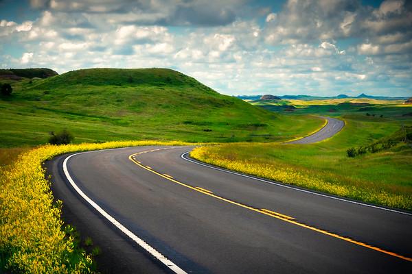 Road Winding Its Way Through The Color Valleys - Sather Lake Recreation Area Little Missouri Grasslands, North Dakota