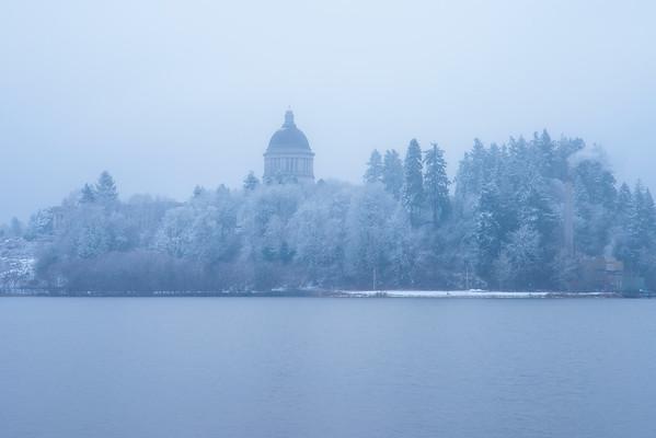 Olympia Capital Building In White Snow - Capital Lake, Olympia, WA