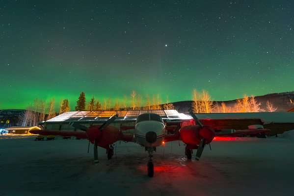 Twin Piper Under The Lights -Chena Hot Springs Resort, Fairbanks, Alaska