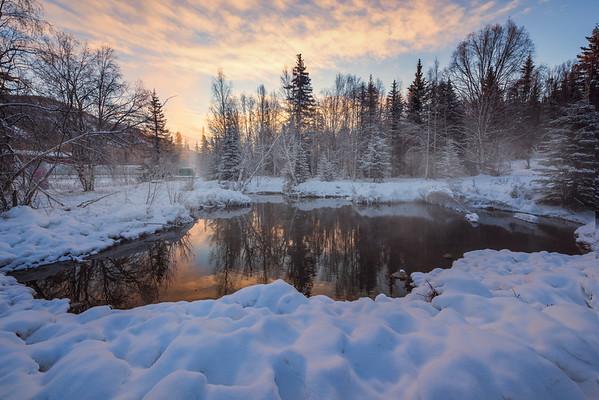 Stunning Sunrise Above The Pond -Chena Hot Springs Resort, Outside Fairbanks, Alaska