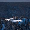 Spotlight On Overhanging Cliff -Fairbanks, Mt Aurora Skiland, Alaska