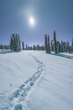 A Winter Walk In The Mountains Under The Moon -Mt Aurora Skiland, Fairbanks, Alaska
