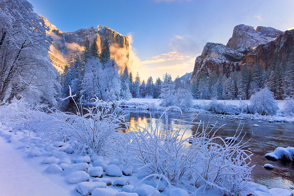 Frozen Winter Valley - Valley View, Yosemite National Park, California