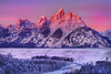 Alpenglow On Grand Teton - Snake River Overlook, Grand Teton National Park, Wyoming