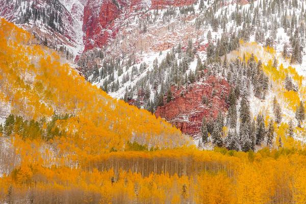 Snow Dusting On The Hillsides - Maroon Bells-Snowmass Wilderness, Aspen, Colorado