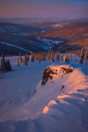 Last Light Cliffside -Fairbanks, Mt Aurora Skiland, Alaska