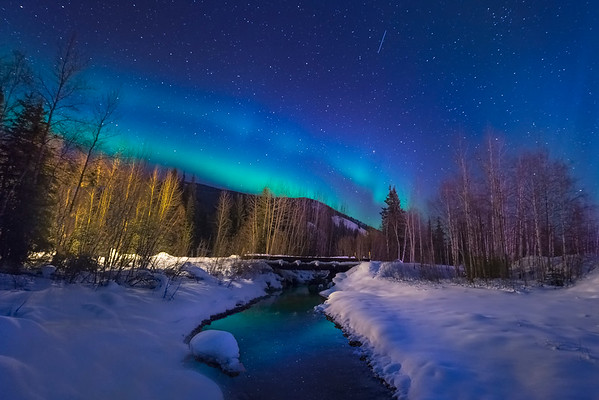 A Creek Stream Under The NIght Blue Sky -Chena Hot Springs Resort, Fairbanks, Alaska