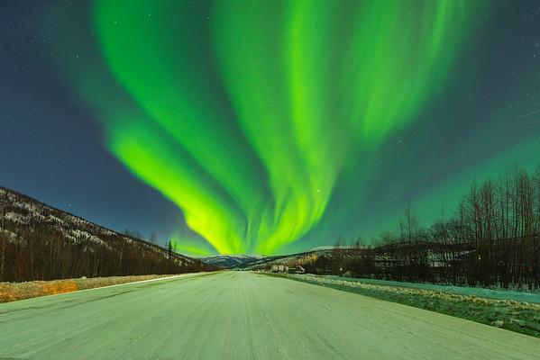 Fans Of Light On The Runway -Chena Hot Springs Resort, Outside Fairbanks, Alaska