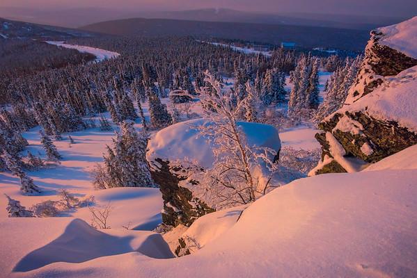 Last Light Over The Winter Valley -Fairbanks, Mt Aurora Skiland, Alaska