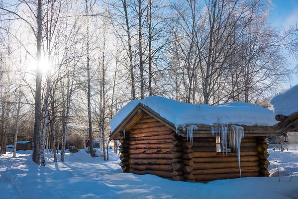 A Snowy Alaskan Cabin Mornin -Chena Hot Springs Resort, Fairbanks, Alaska