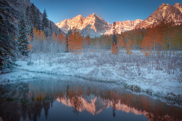 Maroon Bells From End Of The Pond - Maroon Bells-Snowmass Wilderness, Aspen, Colorado
