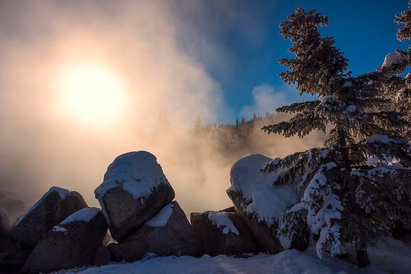 Framed Hot Springs And Sun -Chena Hot Springs Resort, Fairbanks, Alaska