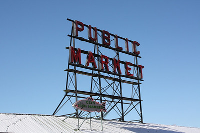 Yep, that's snow on teh top of the Pike Place Market building.