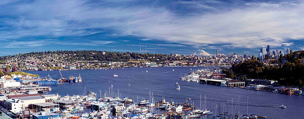 """Aurora"" Taken from mid-span of the Aurora Bridge just north of Seattle, this sweeping view shows Lake Union on a beautiful spring day and everything from Gasworks Park on the left to downtown and East Queen Anne Hill on the right."