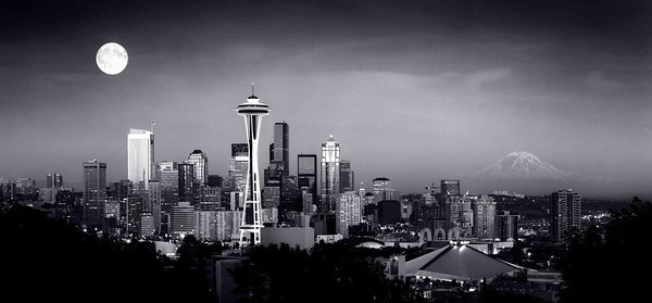 """August Moon"" A classic view of Seattle at full moonrise shot on 4""x5"" B/W negative film."