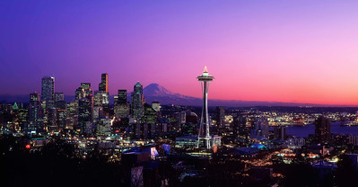 """Solstice""   Taken on one of the clearest nights I've ever seen in Seattle, this photo shows Rainier at its winter best."