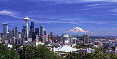 """""""Blue Sky"""" Mt. Rainier doesn't get much clearer than this! Shot on a pristine spring day from Kerry Park on South Queen Anne Hill."""