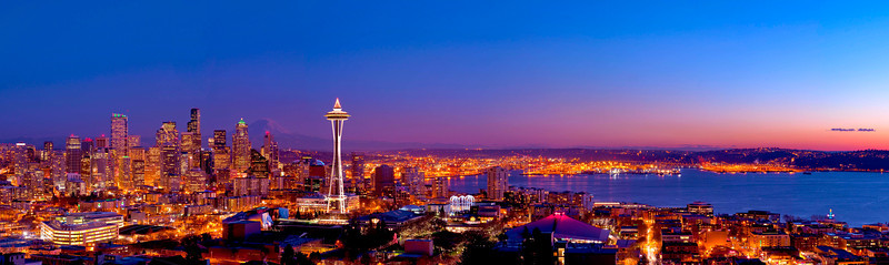 """""""City of Light""""   A 9 shot stitched panoramic taken from the 4th floor attic window of a 100 year old house on the very top of Queen Anne Hill looking south. Shot on the 25 megapixel Nikon D3X, the resolution of this photo is amazing."""
