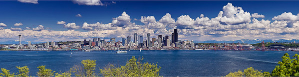 """Seattle Spring""   Taken from Hamilton Park in West Seattle, this 7 shot pano evokes a glorious Spring day. Look carefully and you'll see the tugboats arrayed along the waterfront preparing for the traditional Maritime Week race."