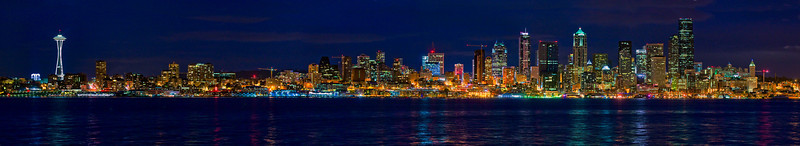 Evening panoramic of Seattle from Alki