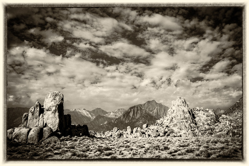 Rock Formation frames the Eastern Sierrras