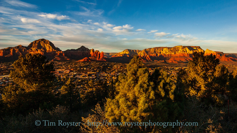 View of Sedona from Airport Road overlook as sunset is approaching.