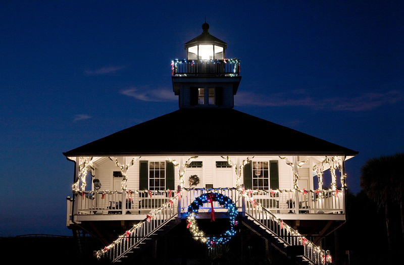Boca Grande Lighthouse on Gasparilla Island, Florida - pictured adorned with holiday lights