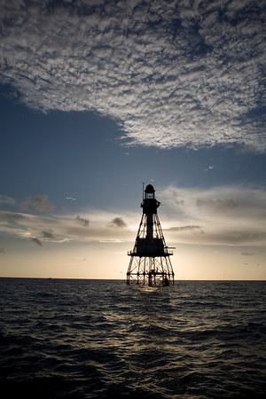 Fowey Rocks Lighthouse - Florida Reef light out the Biscayne Channel - at sunrise