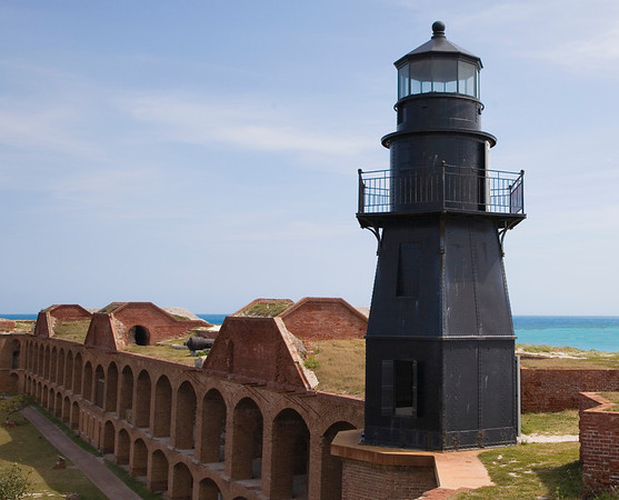 Garden Key Light atop Bastion C of Fort Jefferson, Dry Tortugas, Florida