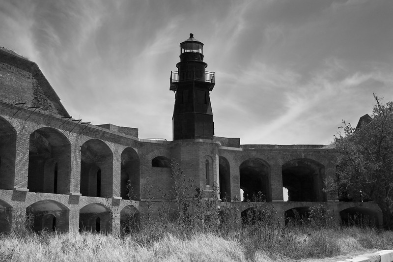 View of Garden Key Light from within Fort Jefferson - black and white