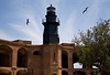Garden Key Light atop Bastion C Fort Jefferson, Dry Tortugas, Florida with Magnificient frigate birds aloft