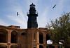 Garden Key Light atop Bastion C Fort Jefferson, Dry Tortugas, Florida with Magnificient frigate birds aloft