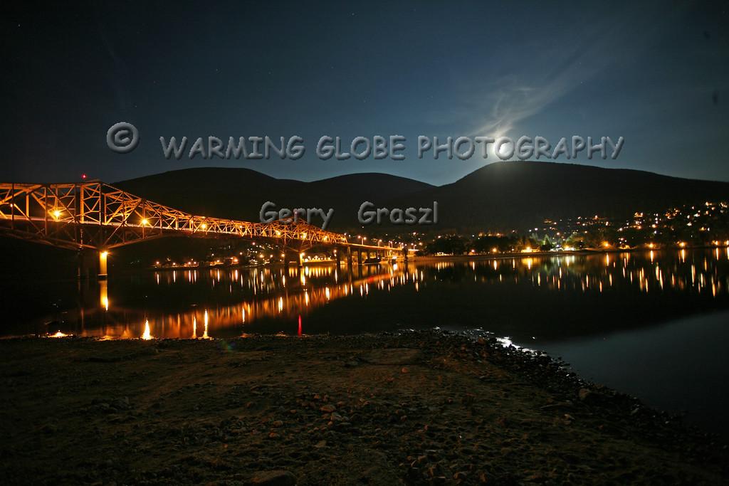 Full Moon night scene of Nelson BC