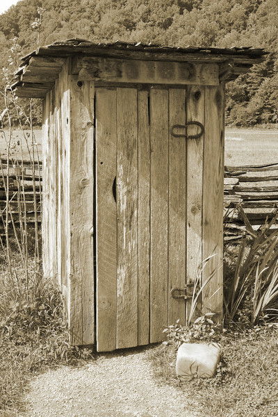 Outhouse in the mountains.