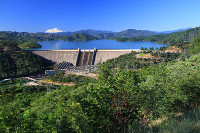 "Photos of a full Lake Shasta, Shasta Dam, and snow-covered Mt Shasta taken June 20, 2011. ""The Three Shastas"" at their best."
