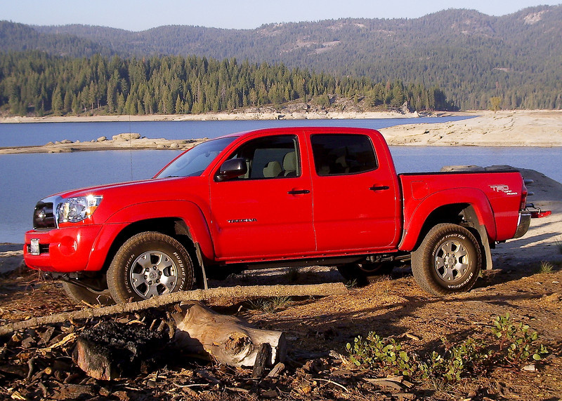 Toyota Tacoma on the shore of Shaver Lake, CA