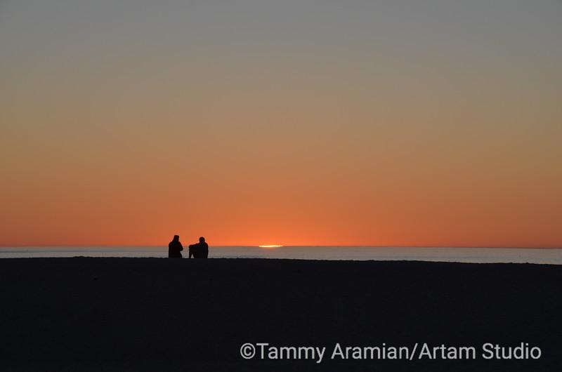 Carmel River Beach sunset sliver, January 2014