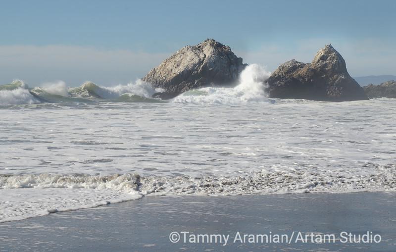 Waves crashing on Seal Rocks, San Francisco, October 2015