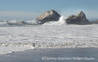 Waves crashing on Seal Rocks, San Francisco, October 2015