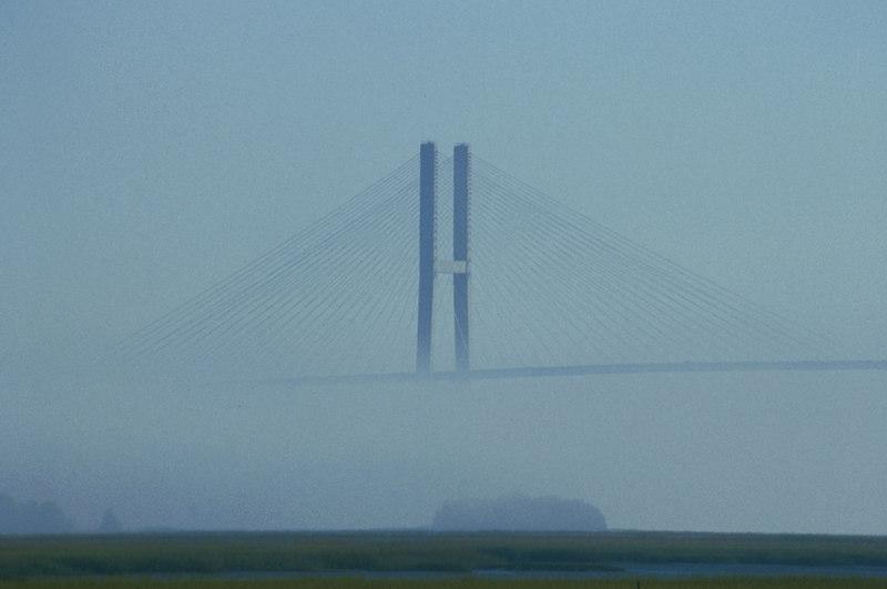 Fog Surrounding the Sidney Lanier Bridge in Brunswick, Georgia