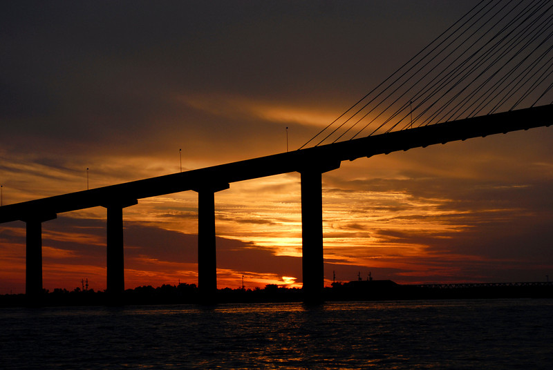 Sunset over the Sidney Lanier Bridge in Brunswick, Georgia